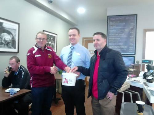Treasurer Paul making a donation on behalf of the club