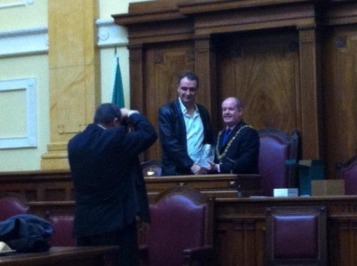 Derek O' Gorman with the Lord Mayor cllr.Terry Shannon