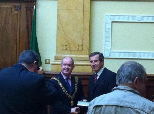 Lord Mayor makes presentation to Leonard Gould, founder TAFC