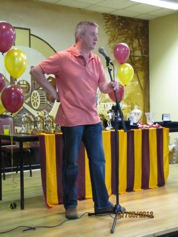 Derek Cregan, Chairman T.A.F.C. opening Awards Ceremony 2012 image