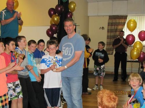U12 Div 3 Player of the Year Jonathan Kearney with Pat Healy image